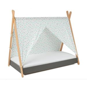 ArtGapp Jednolôžková posteľ TIPI so strieškou Farba: Sivá / sivo -mentolové hviezdičky