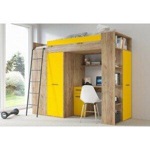 ARTBm Vyvýšená posteľ Verana P/L Farba: craft zlatý + žlutá