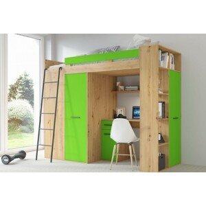 ARTBm Vyvýšená posteľ Verana P/L Farba: dub artisan + zelená