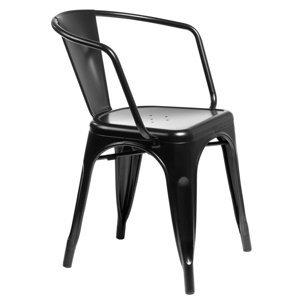 ArtD Jedálenská stolička Paris Arms inšpirovaná Tolix Farba: Čierna