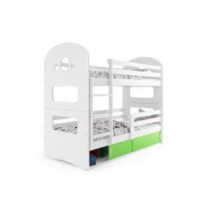 BMS Detská poschodová posteľ DOMINIK Farba: biela / zelená, Rozmer.: 190 x 80 cm