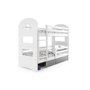 BMS Detská poschodová posteľ DOMINIK Farba: biela / sivá, Rozmer.: 160 x 80 cm