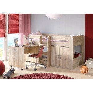 ArtFMbra Detská poschodová posteľ + stolík FUNKY Farba: dub sonoma