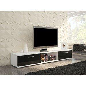 ArtAdr TV stolík Sella biela/ čierny lesk