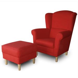 Tempo Kondela Kreslo ASTRID + taburetka červená