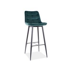 Signal Barová stolička CHIC H- 1 Velvet Farba: Zelená