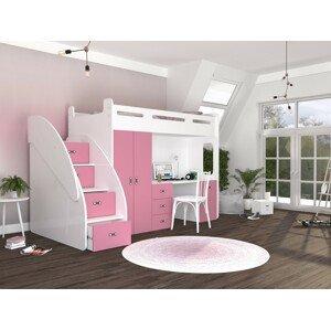 ArtAJ Detská vyvýšená posteľ ZUZIA PLUS Farba Zuzia: biela/ružová