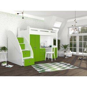 ArtAJ Detská vyvýšená posteľ ZUZIA PLUS Farba Zuzia: biela/zelená