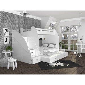 ArtAJ Detská poschodová posteľ s prístelkou ZUZIA 3 Farba Zuzia: biela/biela