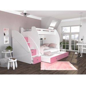 ArtAJ Detská poschodová posteľ s prístelkou ZUZIA 3 Farba Zuzia: biela/ružová