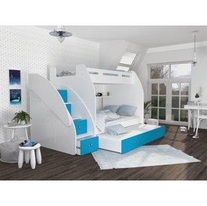 ArtAJ Detská poschodová posteľ s prístelkou ZUZIA 3 Farba Zuzia: biela/modrá