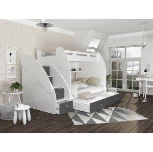 ArtAJ Detská poschodová posteľ s prístelkou ZUZIA 3 Farba Zuzia: biela/sivá
