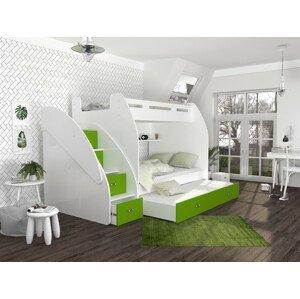 ArtAJ Detská poschodová posteľ s prístelkou ZUZIA 3 Farba Zuzia: biela/zelená