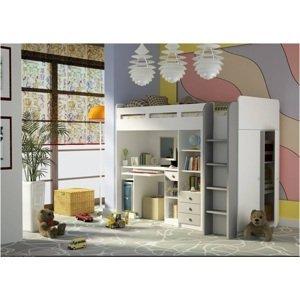 ArtElb Detská poschodová posteľ + stolík UNIT Farba: Biela / strieborná