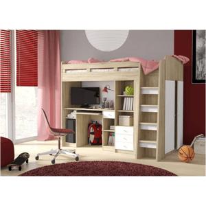 ArtElb Detská poschodová posteľ + stolík UNIT Farba: dub sonoma/biela