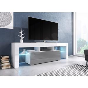 WIP TV stolík EVEREST 160 Farba: Biela / Šedý lesk / Biely Lesk