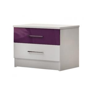 ArtStol Nočný stolík Dubaj Farba: biela / fialový lesk