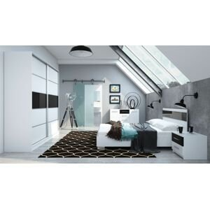 ArtStol Manželská posteľ Dubaj Farba: Biela / čierny lesk