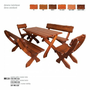 Drewmax Záhradná zostava MO230 Farba: Záhradný set 1x MO230 stôl/ 2x MO230lavica / prevedenie lak - dub