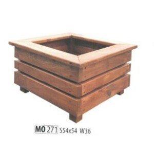 Drewmax Ozdobný štvorcový drevený kvetináč MO271