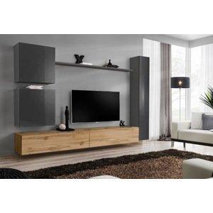WIP-asm Obývacia stena SWITCH VIII Farba: sivý mat / sivý lesk / dub votan