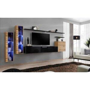 WIP-asm Obývacia stena SWITCH XI Farba: dub votan / čierny mat / čierny lesk