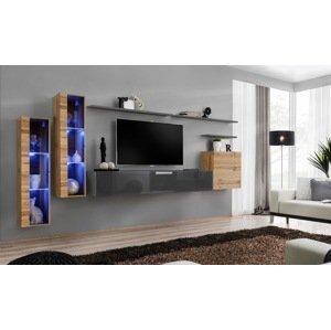 WIP-asm Obývacia stena SWITCH XI Farba: dub votan / sivý mat / sivý lesk