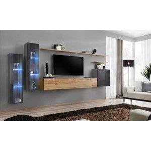 WIP-asm Obývacia stena SWITCH XI Farba: sivý mat / sivý lesk / dub votan