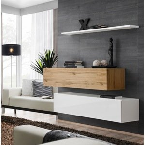 WIP-asm Obývacia stena SWITCH WT SW SB2 Farba: biely mat / biely lesk / dub votan