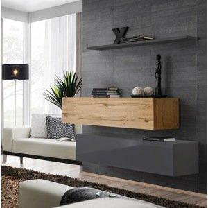 WIP-asm Obývacia stena SWITCH WT SW SB2 Farba: sivý mat / sivý lesk / dub votan