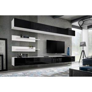 WIP-asm Obývacia stena FLY I / I1 Farba: 23 WS FY I1 biela / čierny lesk