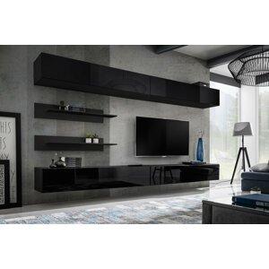 WIP-asm Obývacia stena FLY I / I1 Farba: 23 ZZ FY I1 čierna / čierny lesk
