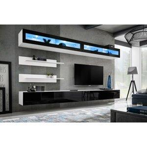 WIP-asm Obývacia stena FLY I / I2 Farba: 23 WS FY I2 - Biela / čierny lesk