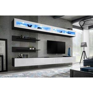 WIP-asm Obývacia stena FLY I / I2 Farba: 23 ZW FY I2 - čierna / biely lesk