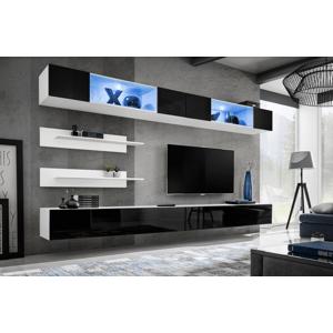 WIP-asm Obývacia stena FLY I / I3 Farba: 23 WS FY I3 - Biela / čierny lesk