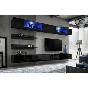 WIP-asm Obývacia stena FLY I / I3 Farba: 23 ZZ FY I3 - čierna / čierny lesk