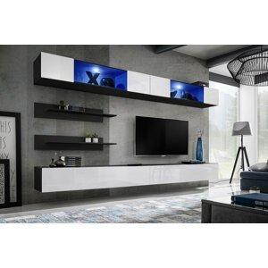 WIP-asm Obývacia stena FLY I / I3 Farba: 23 ZW FY I3 - čierna / biely lesk