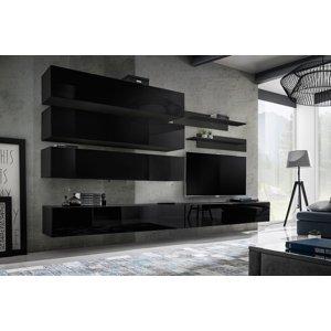 WIP-asm Obývacia stena FLY J / J1 Farba: 23 ZZ FY J1 - čierna / čierny lesk