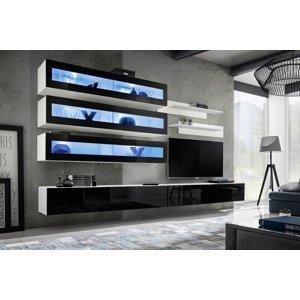 WIP-asm Obývacia stena FLY J / J2 Farba: 23 WS FY J2 - Biela / čierny lesk