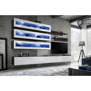 WIP-asm Obývacia stena FLY J / J2 Farba: 23 ZW FY J2 - čierna / biely lesk