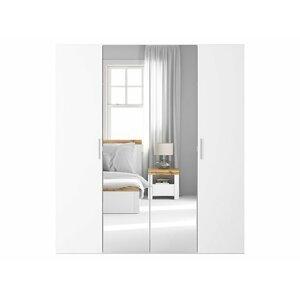 BRW Skriňa: FLEX 200 Farba: biela/ biely lesk/ zrkadlo
