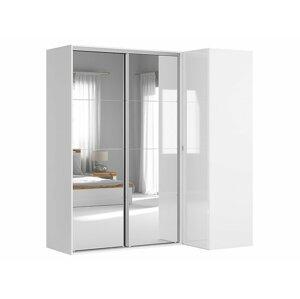 BRW Rohová skriňa: FLEX Farba: biela/ biely lesk/ zrkadlo
