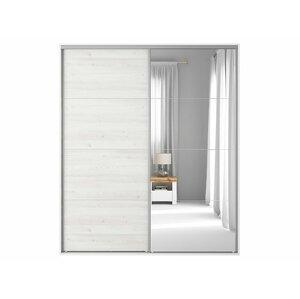 BRW Skriňa: FLEX 200 Farba: biela/smrekovec sibiu svetlý/zrkadlo