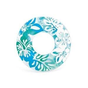 Nafukovacie koleso 91 cm - kvetinové vzory , modrá farba