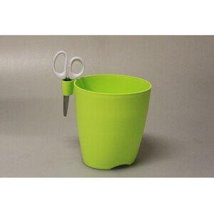 Plastový kvetináč Limes Uno + nožnice - svetlo zelený