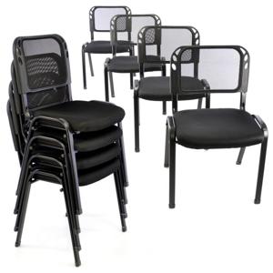 Sada stohovateľných stoličiek - 8 ks, čierna