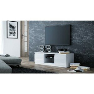 TV stolík LCD glass 140 cm biela lesklá