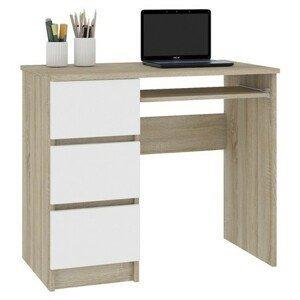Počítačový stôl A-6 ľavý biely/sonoma