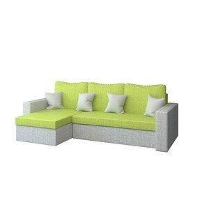 Rohová rozkladacia sedacia súprava PAUL II Zelená/svetlo šedá