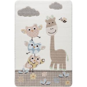 Detský krémový koberec Confetti Owls, 133×190 cm